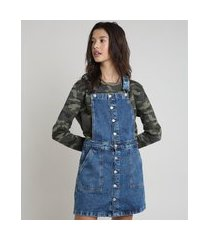 salopete jeans feminina com botões azul médio