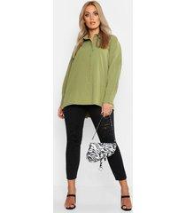plus oversized geweven utility blouse, kaki