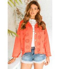 denim embroidery jacket oranje