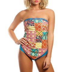 la moda clothing women's 2-piece patchwork-print tankini set - size m