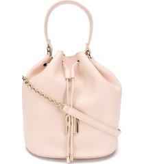 furla sleek pebbled bucket bag - neutrals
