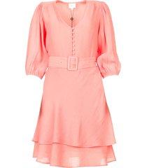 bewerkte jurk met bijpassende riem bellem  roze