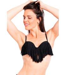 bikini estilo sostén con flecos negro samia