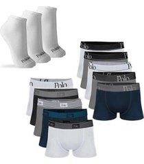 kit com 10 cuecas cotton premium e 3 pares de meias cano curto - polo match masculino - masculino
