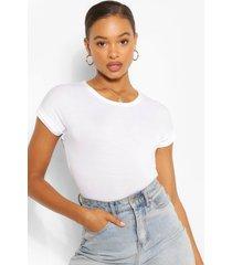 boxy basic t-shirt met omgeslagen mouwen, wit
