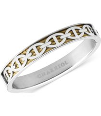 charriol link overlay cable bangle bracelet in stainless steel & 18k gold pvd stainless steel