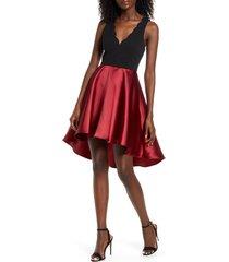 women's speechless scalloped neck satin dress