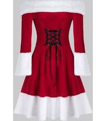plus size christmas lace up velvet off shoulder a line dress
