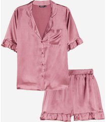 womens satin ruffle pajama shirt and shorts set - mauve