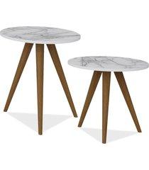 kit com mesa de canto e mesa lateral lyam decor retrã´ branco carrara - branco - dafiti