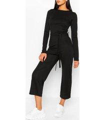 tall geribbelde culotte jumpsuit met ceintuur, zwart