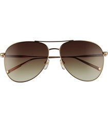 women's longchamp classic 59mm gradient aviator sunglasses - gold/ khaki gradient