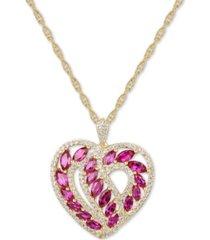 "certified ruby (2-1/4 ct. t.w.) & diamond (1/2 ct. t.w.) heart 18"" pendant necklace in 14k gold"