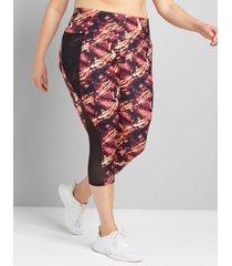 lane bryant women's livi high-rise wicking capri legging with pockets - mesh 34/36 multi abstract print