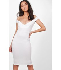 petite off the shoulder dress, ivory