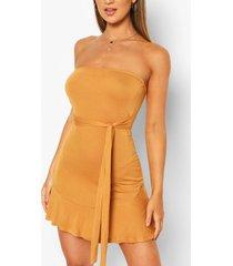 bandeau frill mini dress, mustard