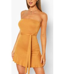 bandeau frill mini dress, mustard