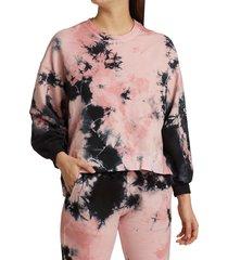 electric & rose women's neil tie-dye high-low sweatshirt - blush onyx - size s