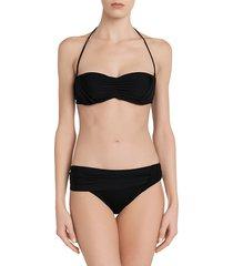 la perla women's aqua drapes bandeau bikini top - black - size 38 b