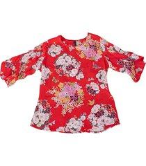 blusa chiffon flores bolero - 81111127