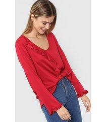 blusa roja etam volados