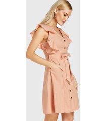 yoins rosa cinturón diseño mangas tipo casquillo con cuello en v vestido