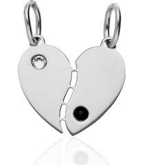 ciondolo cuore yin e yang in argento rodiato per unisex