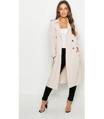 petite utility button detail trench coat, stone