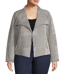 plus houndstooth open-front jacket