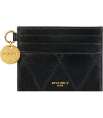 women's givenchy gv3 quilted leather card case - black