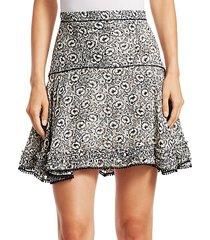 floral stretch silk flare skirt