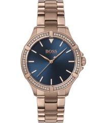 boss women's mini sport carnation gold-tone stainless steel bracelet watch 32mm