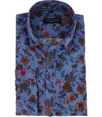casual shirt casa moda blauw bloemenprint