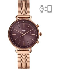 fossil women's cameron rose gold-tone stainless steel mesh bracelet hybrid smart watch 36mm