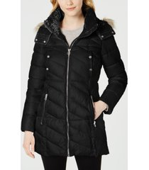 marc new york velvet-trim faux-fur hooded puffer coat