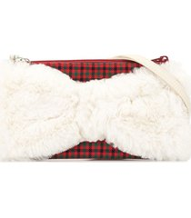familiar check print bow shoulder bag - white