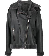 liska fur-lined aviator jacket - grey
