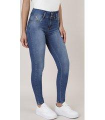 calça jeans feminina sawary skinny com bojo azul escuro