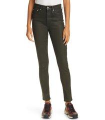 women's rag & bone nina coated high waist ankle skinny jeans, size 27 - black