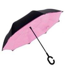 guarda - chuva invertido face dupla liso - rosa