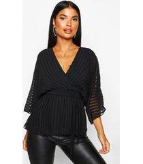 petite geweven gestreepte wikkel blouse met vleermuismouwen, zwart