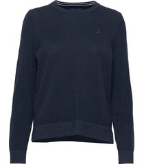 cotton pique c-neck sweat-shirt trui blauw gant