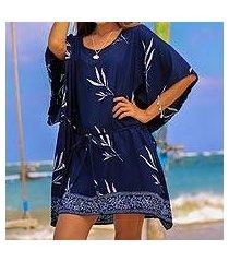 batik rayon poncho, 'midnight fall' (indonesia)