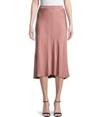 velvet women's calissa linen midi skirt - cavern green - size m
