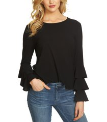 women's cece tiered bell sleeve top, size xx-small - black