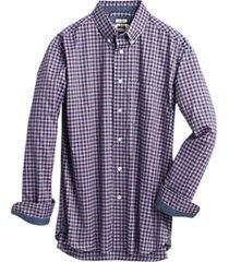 joseph abboud raspberry & blue check modern fit sport shirt