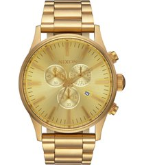 nixon 'the sentry' chronograph bracelet watch, 42mm in gold at nordstrom