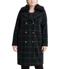 tahari plus size faux-fur-collar plaid coat, created for macy's