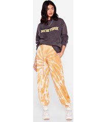 womens tie dye you ask relaxed joggers - mustard