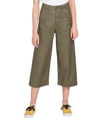women's volcom army whaler wide leg crop pants, size 24 - green